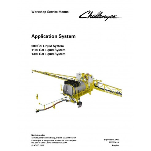 Challenger 900, 1100, 130 Gal application system workshop service manual - Challenger manuals