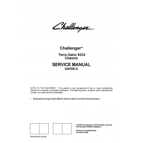 Challenger Terra Gator 8333 chassis service manual - Challenger manuals