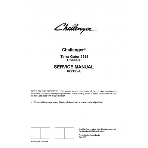 Challenger Terra Gator 3244 chassis service manual - Challenger manuals