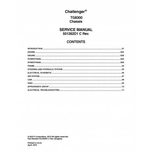 Challenger TG8300 chassis service manual - Challenger manuals