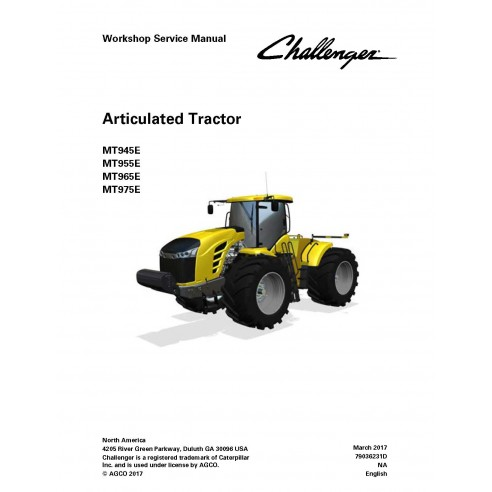 Challenger MT945E / MT955E / MT965E / MT975E tractor workshop service manual