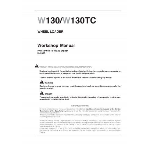 New Holland W130 / W130TC wheel loader workshop manual - New Holland Construction manuals