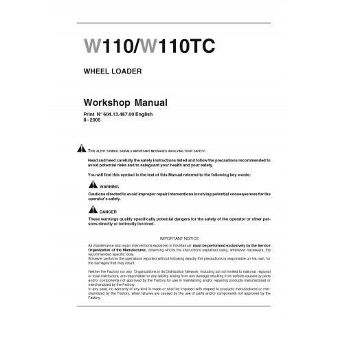 New Holland W110 / W110TC wheel loader workshop manual - New Holland Construction manuals
