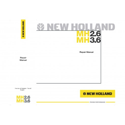 New Holland MH2.6 / MH3.6 excavator repair manual - New Holland Construction manuals