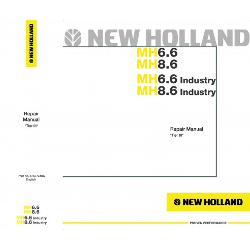 New Holland MH6.6 / MH8.6 excavator repair manual - New Holland Construction manuals