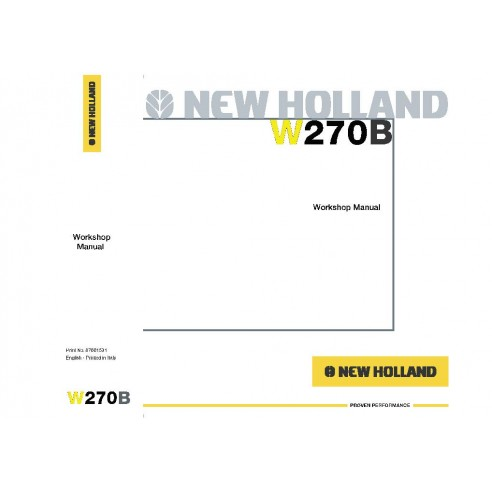 New Holland W270B wheel loader service manual - New Holland Construction manuals