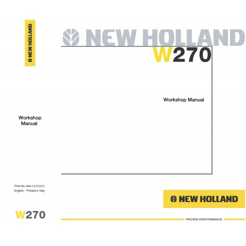 New Holland W270 wheel loader workshop manual-New Holland