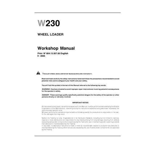 Manual de taller de la cargadora de ruedas New Holland W230 - Construcción New Holland manuales