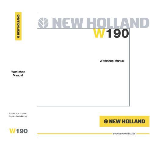 New Holland W190 wheel loader workshop manual-New Holland