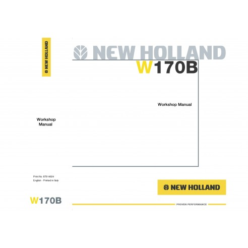New Holland W170B wheel loader workshop manual - New Holland Construction manuals