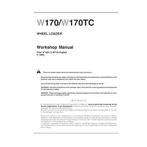 Manual de oficina da carregadeira de rodas New Holland W170 / W170TC - New Holland Construction manuais