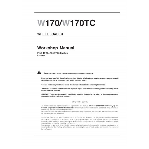 New Holland W170 / W170TC wheel loader workshop manual - New Holland Construction manuals