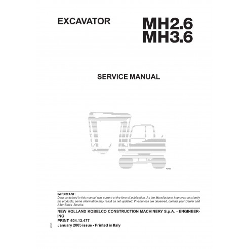 New Holland MH2.6 / MH3.6 excavator service manual - New Holland Construction manuals