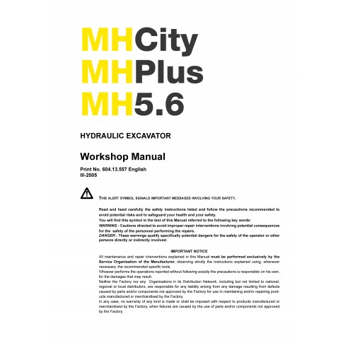New Holland MH5.6 excavator workshop manual - New Holland Construction manuals