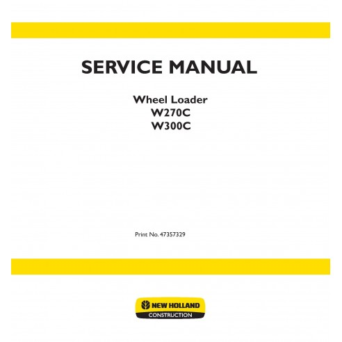 Manual de serviço da carregadeira de rodas New Holland W270C, W300C - New Holland Construction manuais