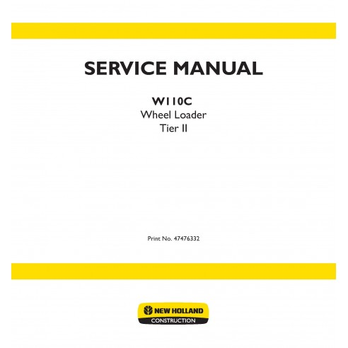 New Holland W110C wheel loader service manual - New Holland Construction manuals