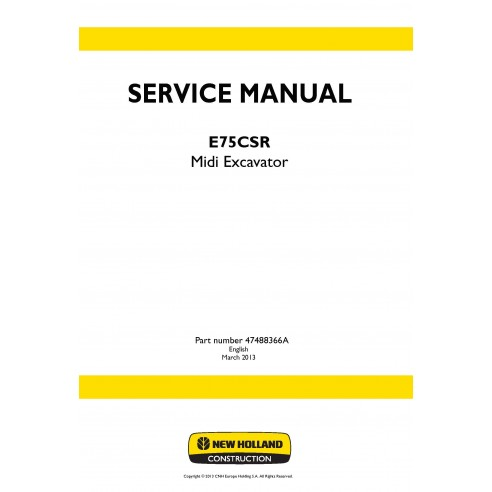 New Holland E75CSR midi excavator service manual