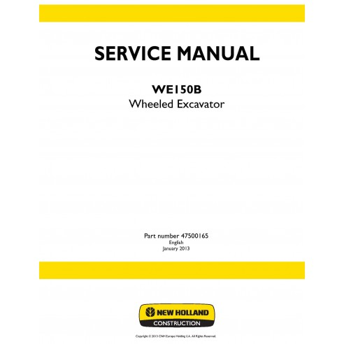 Manual de serviço da escavadeira de rodas New Holland WE150B - New Holland Construction manuais