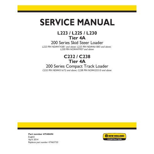 Manuel d'entretien des chargeuses compactes New Holland L223 / L225 / L230 / C232 / C238 - Construction New Holland manuels