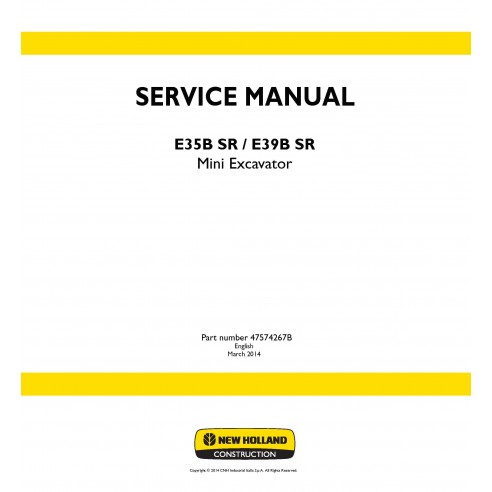 New Holland E35B SR / E39B SR mini excavator service manual - New Holland Construction manuals