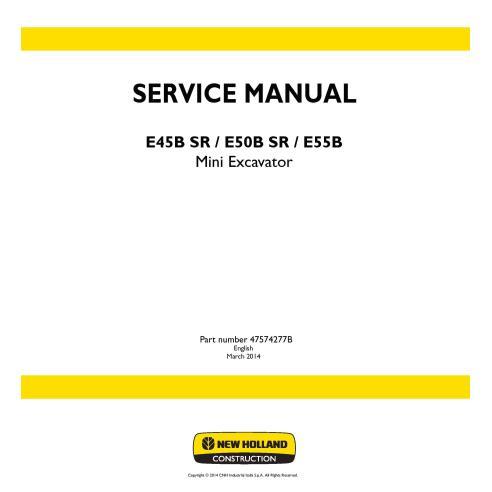 Manuel d'entretien pour mini-pelle New Holland E45B SR / E50B SR / E55B - Construction New Holland manuels