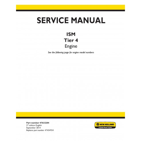 New Holland ISM Tier 4 engine service manual - New Holland Construction manuals