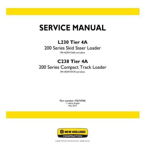 Manual de servicio de la cargadora New Holland L230, C238 Tier 4A - Construcción New Holland manuales