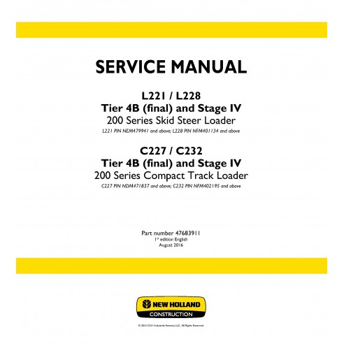 New Holland L221 / L228 / C227 / C232 Tier 4B loader service manual - New Holland Construction manuals