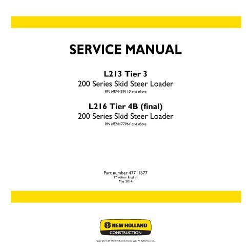 Manual de servicio de la cargadora deslizante New Holland L213, L216 Tier 4B - Construcción New Holland manuales