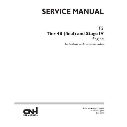 Manual de serviço do motor New Holland F5 Tier 4B - New Holland Construction manuais