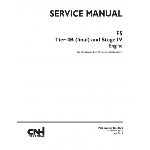 New Holland F5 Tier 4B engine service manual - New Holland Construction manuals