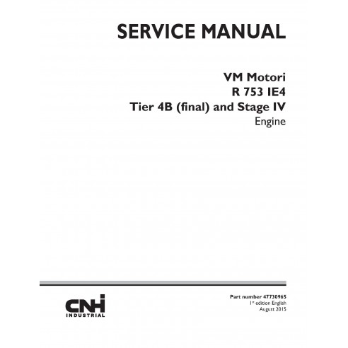 New Holland VM Motori R 753 IE4 engine service manual - New Holland Construction manuals