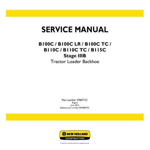 Manual de serviço da retroescavadeira New Holland B100C / B100C LR / B100C TC / B110C / B110C TC / B115C - New Holland Constr...