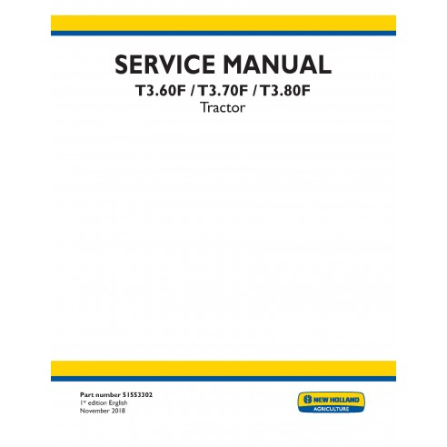 New Holland T3.60F / T3.70F / T3.80F tractor service manual - New Holland Agriculture manuals