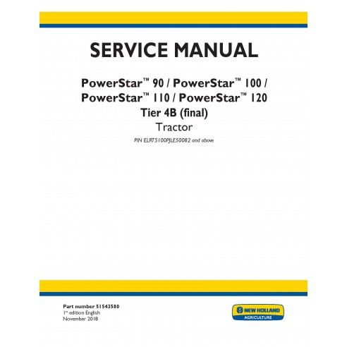 New Holland PowerStar 90 / 100 / 110 / 120 tractor service manual - New Holland Agriculture manuals