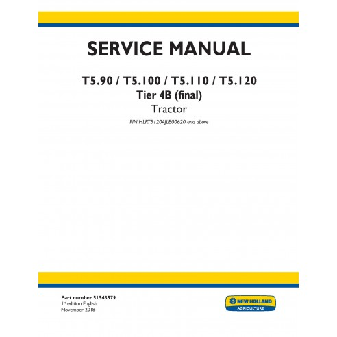Manual de serviço do trator New Holland T5.90 / T5.100 / T5.110 / T5.120 - New Holland Agriculture manuais