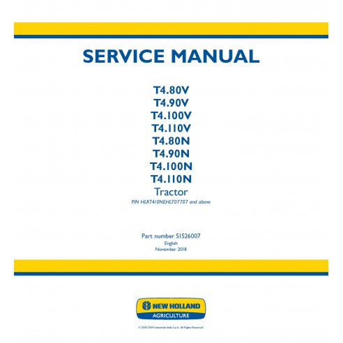 New Holland T4.80V - T4.110V / T4.80N - T4.110N tractor service manual - New Holland Agriculture manuals