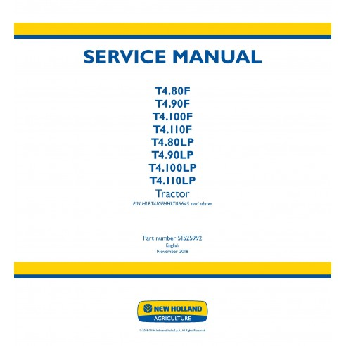 New Holland T4.80F - T4.110F / T4.80LP - T4.110LP tractor service manual - New Holland Agriculture manuals