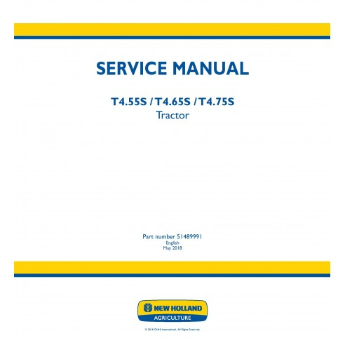 New Holland T4.55S / T4.65S / T4.75S tractor service manual - New Holland Agriculture manuals
