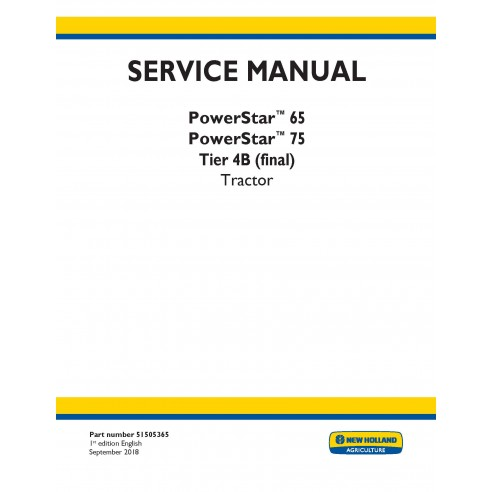 New Holland PowerStar 65 / 75 tractor service manual - New Holland Agriculture manuals