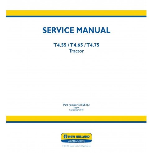 New Holland T4.55 / T4.65 / T4.75 tractor service manual - New Holland Agriculture manuals