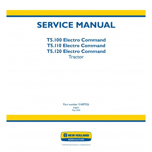 New Holland T5.100 / T5.110 / T5.120 Electro Command tractor service manual - New Holland Agriculture manuals