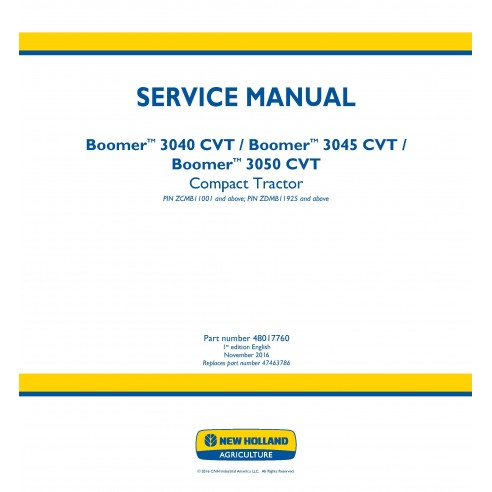 New Holland Boomer 3040 / 3045 / 3050 CVT compact tractor service manual
