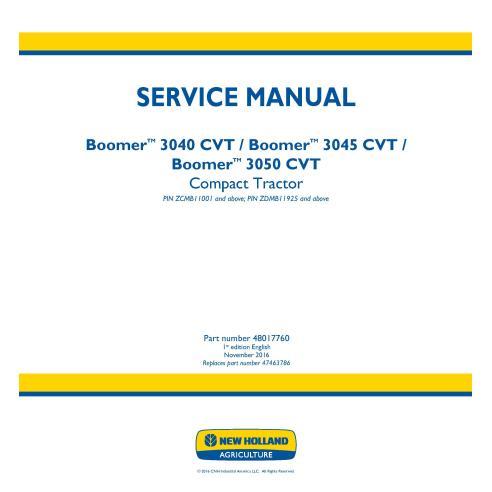 Manual de serviço do trator compacto New Holland Boomer 3040/3045/3050 CVT - New Holland Agriculture manuais