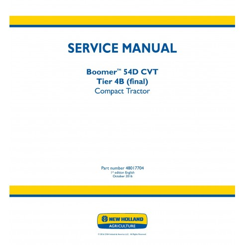 New Holland Boomer 54D CVT compact tractor service manual - New Holland Agriculture manuals
