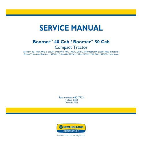 Manual de servicio del tractor compacto New Holland Boomer 40/50 Cab - Agricultura de New Holland manuales