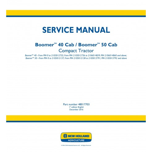 New Holland Boomer 40 / 50 Cab compact tractor service manual - New Holland Agriculture manuals