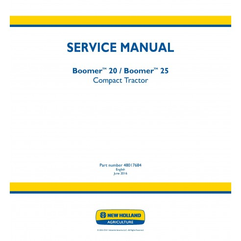 New Holland Boomer 20 / 25 compact tractor service manual - New Holland Agriculture manuals