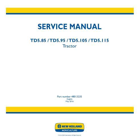 Manual de servicio del tractor New Holland TD5.85 / TD5.95 / TD5.105 / TD5.115 - Agricultura de New Holland manuales