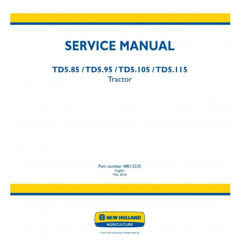 New Holland TD5.85 / TD5.95 / TD5.105 / TD5.115 tractor service manual - New Holland Agriculture manuals